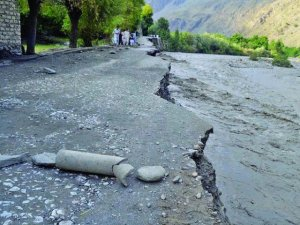Heavy rains have washed away roads in Chitral Valley. PHOTO: INP